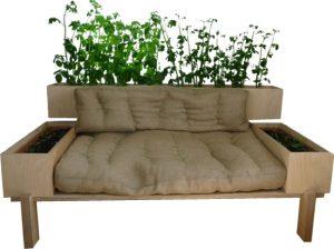 Le canapé avec dossier plantes vertes